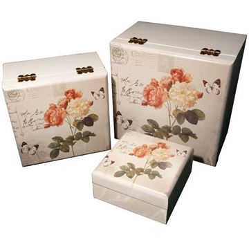 Picture of SCATOLA QUADRA ROSE SET 3 PZ